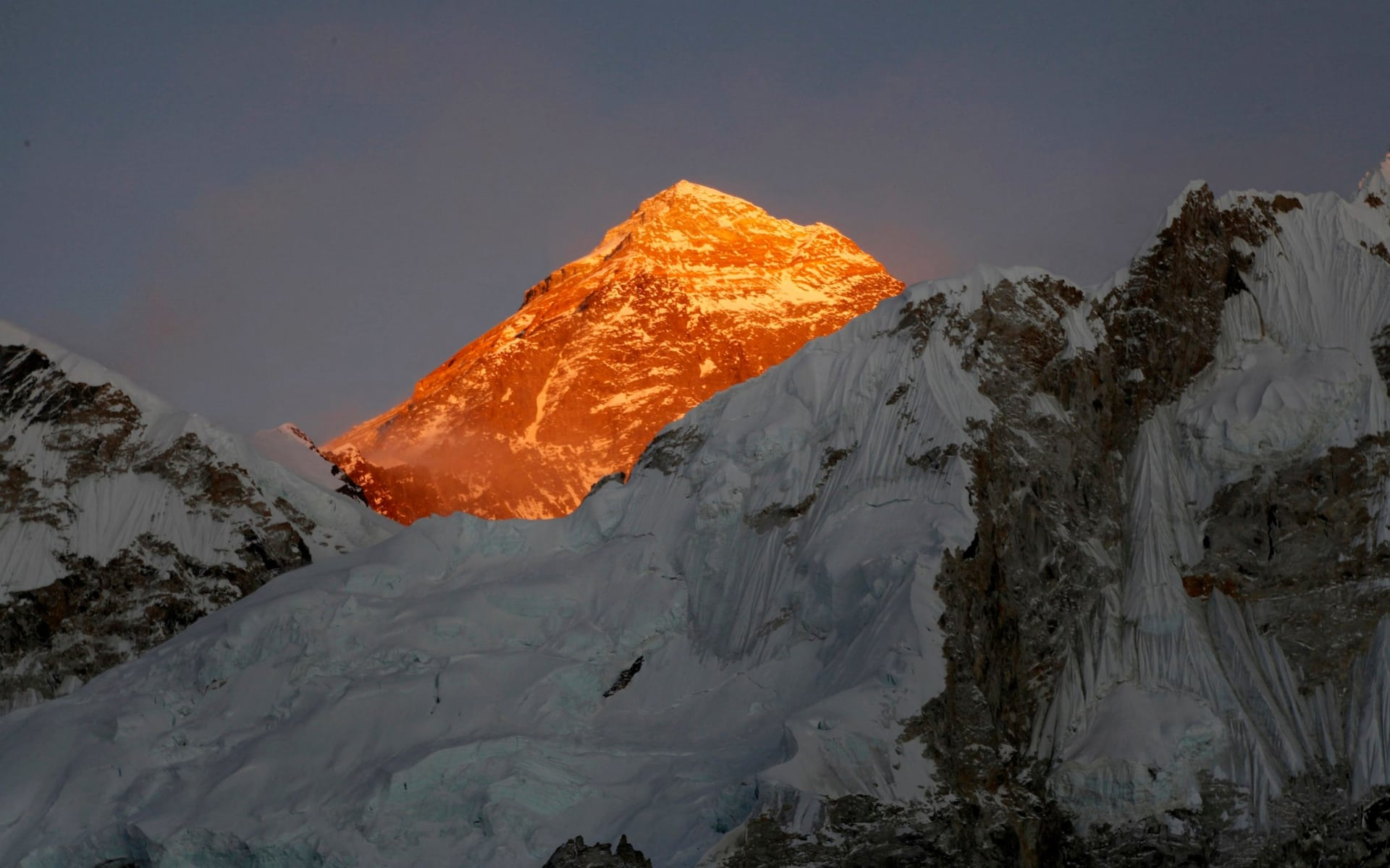 Mt. Everest is seen from the way to Kalapatthar in Nepal CREDIT: AP PHOTO/TASHI SHERPA