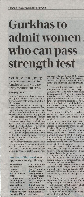 Gurkhas to admit women who can pass strength text